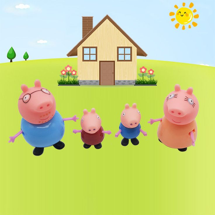 4  pcs/set Pig Toys  Action Figures Family Member Baby Kid Peppa & George Family #Tronzo