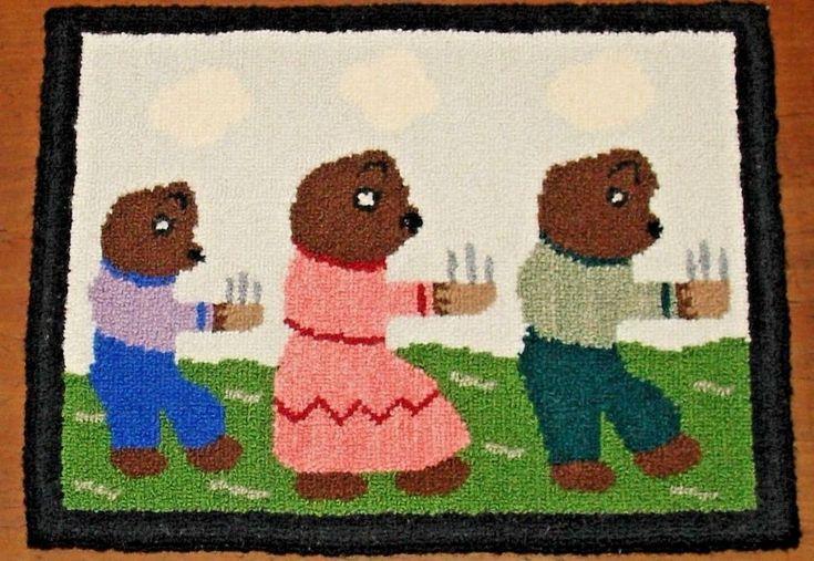 Vintage Hooked Rug The Three Bears Fairy Tale Folk Art Wool Mat Hand Hooking