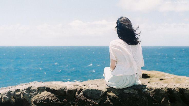 Widok, Morze, Kobieta