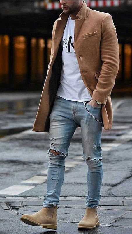 4eed1d49014 Zip Fly Faded Ripped Tapered Jeans in 2019 | Men's fashion ideas ...