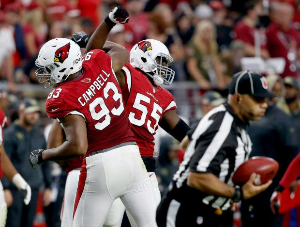 49ers vs. Cardinals:  23-20, Cardinals  -  November 13, 2016  -    Arizona Cardinals outside linebacker Chandler Jones (55) celebrates a defensive stop with Calais Campbell (93) against the San Francisco 49ers during the second half of an NFL football game, Sunday, Nov. 13, 2016, in Glendale, Ariz. (AP Photo/Ross D. Franklin)