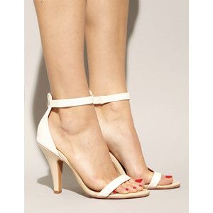 Jeffrey Campbell Beige And White Patent Strappy Heels