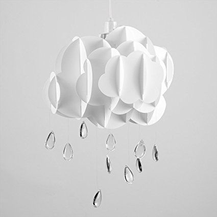 Cute Children's Bedroom / Baby Nursery White Layered Rain Cloud With Acrylic Jewel Raindrop Water Droplets Ceiling Cot Mobile Pendant Light Shade: Amazon.co.uk: Lighting