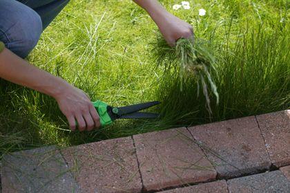 graskanten-steken en gazon maaien is handiger met klinkers er langs