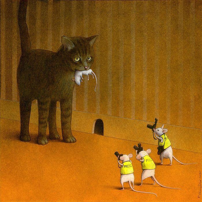 """OS MÍDIA – """" O lado MÓRBIDO dos mídia é que  procuram  os assuntos para noticiário quase SEMPRE  INDIFERENTES  para com as vítimas """"! -  Desenho de Pawel Kuczynski - enkil.org"""