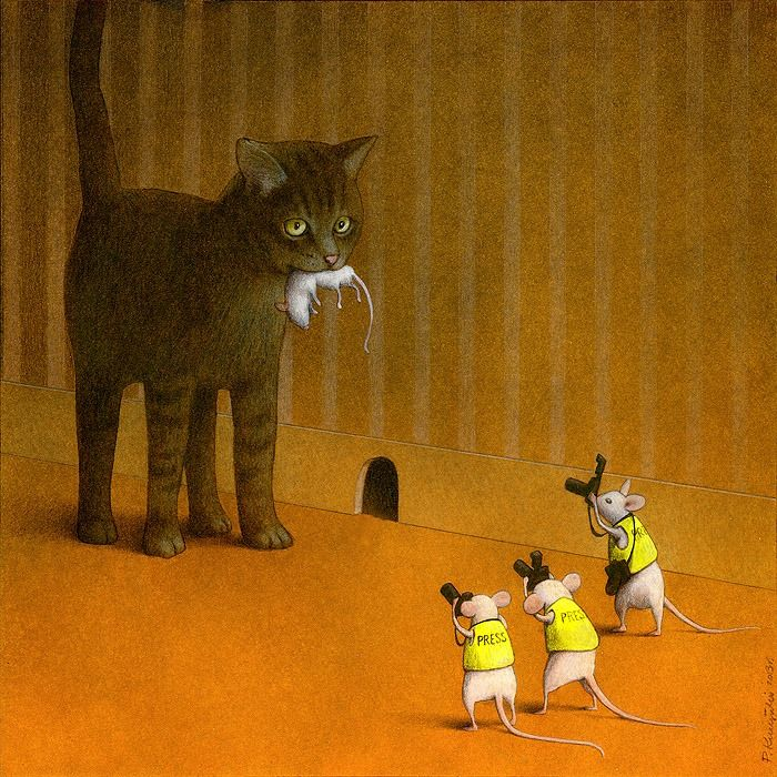 Polish artist Pawel Kuczynski creates satirical paintings filled with thought-provoking messages about the world today.