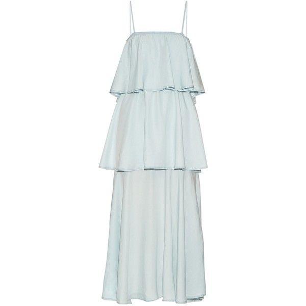 Raey Tiered denim midi dress (680 CAD) ❤ liked on Polyvore featuring dresses, blue, blue denim dress, square neck dress, square neckline dress, blue midi dress and calf length dresses