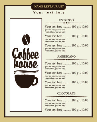 Free Printable Templates Coffee Shop Menu Menu Design Coffee Menu