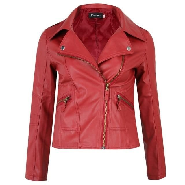 Fashion Female Red Slim PU Leather Jacket Women Coat Short