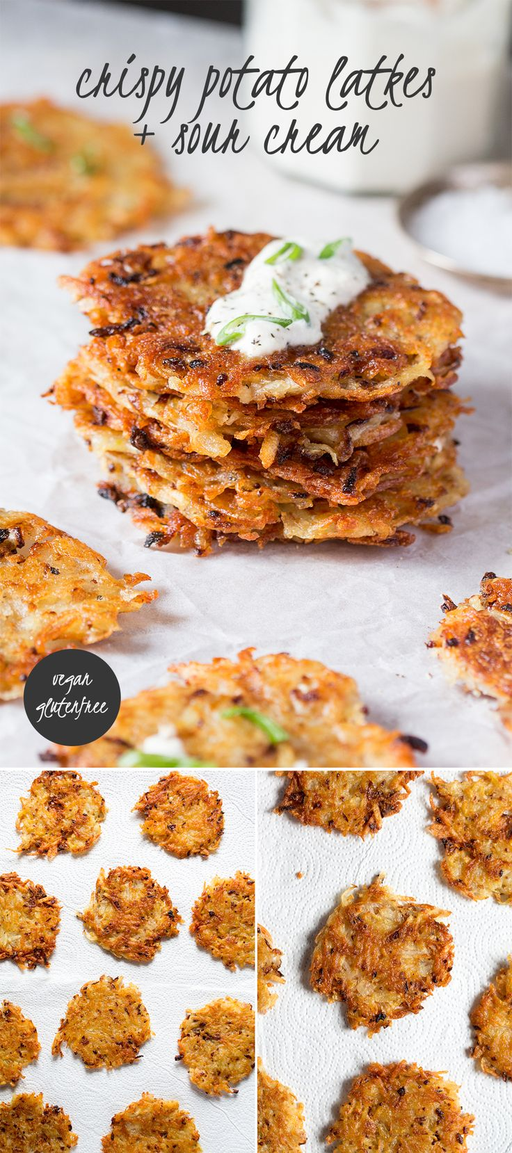 crispy potato latkes are delicious, easy to make and can be made in two different ways if you are into healthy recipes. They are vegan and gluten free too.