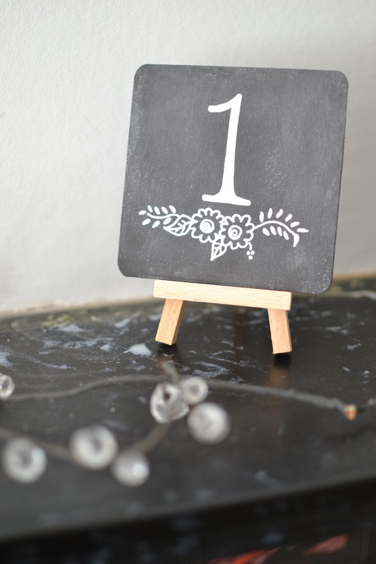 10 Chalkboard Table Numbers with Wooden Mini Easel - Hand Lettered - Wedding…