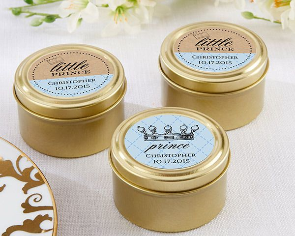 (Set of 12)  Personalised Gold Round Candy Tins - Little Prince