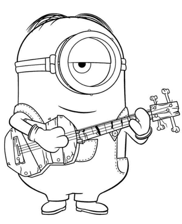 Minion With Guitar To Color To Print For Free Minion Coloring Pages Minions Coloring Pages Cartoon Coloring Pages