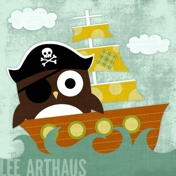 such a cute print..possible for the bathroom? Pirate and owls...such a great combo