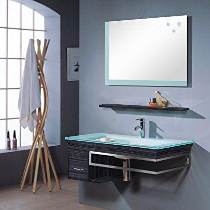SixBros. Mobile da bagno - Arredo bagno Bari - wengè - M-70130/238 - Specchio - armadietto base - lavabo