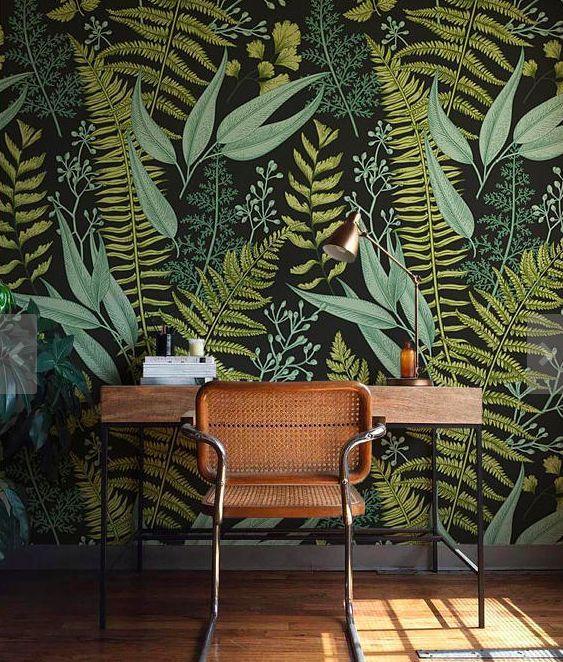Dark botanical wallpaper. Ferns, leaves, flowers. – color design & wall – # leaves # flowers #botanic #design #dark