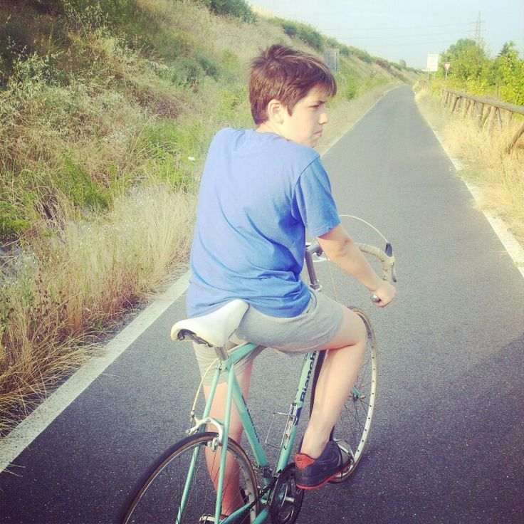 Martino on the vintage bike