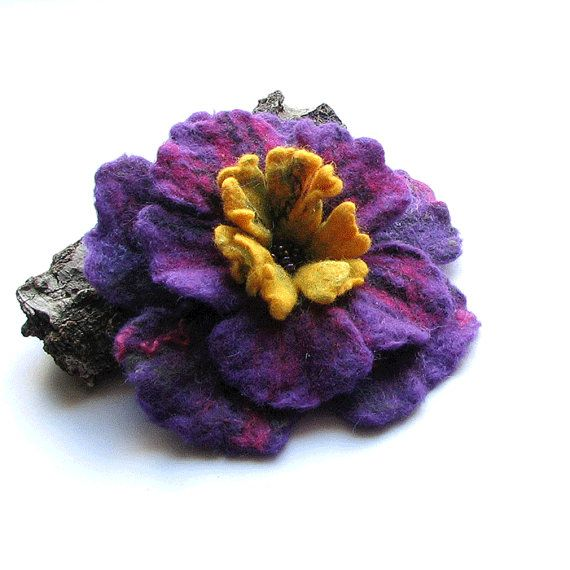 Felt Brooch  Felt Flower   wet felt brooch  by AlbadoFashion