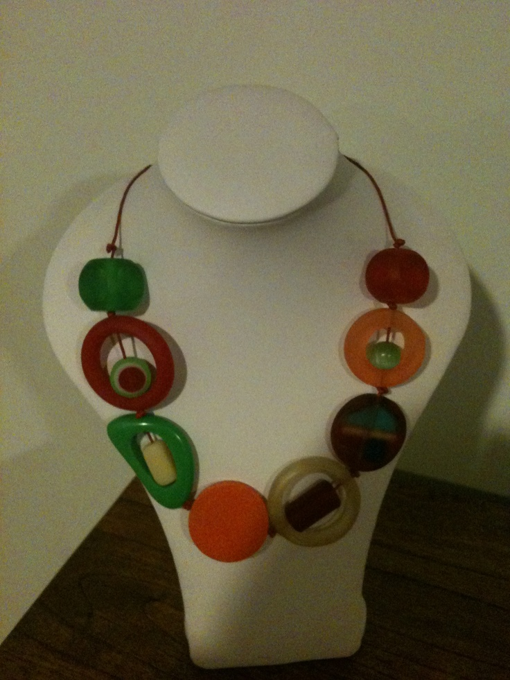 Red, green and orange chunky necklace