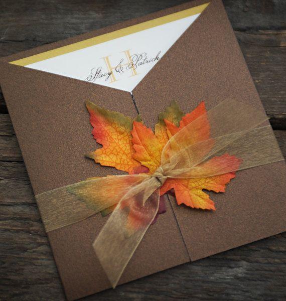 Fall Wedding Invitation  Custom Sample by EMinvitations on Etsy, $4.60