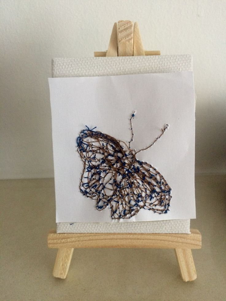 30/3/16 I stated to think about my piece for the cabinet of curiosities and attached one of my embroidered butterflies onto a mini canvas .