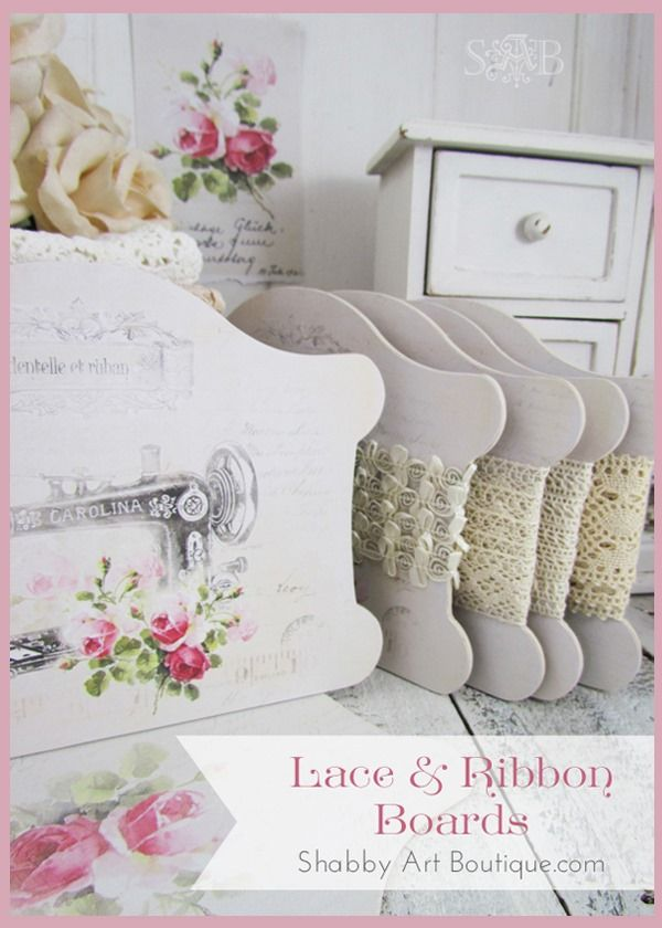 For a long time now I've stored all my laces, ribbons and haberdashery trims on specially made boards, so they could be easily accessed, kept untangled and look shabbiliciously beautiful. I released 3