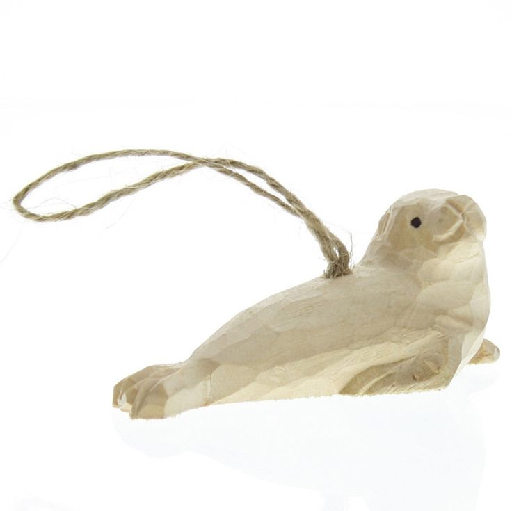 Carved Wood Seal Ornament