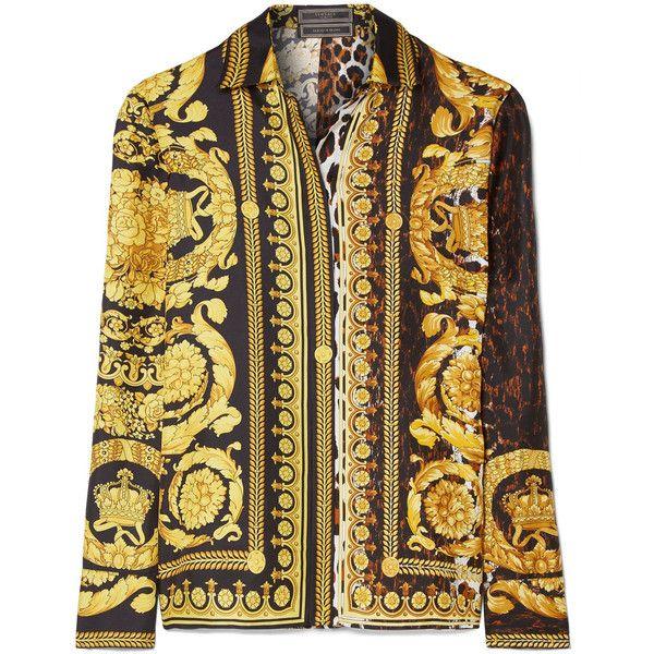 Versace Printed silk-satin twill shirt (€1.175) ❤ liked on Polyvore featuring tops, black, animal print shirts, versace, versace shirt, pattern shirt and silk satin shirt