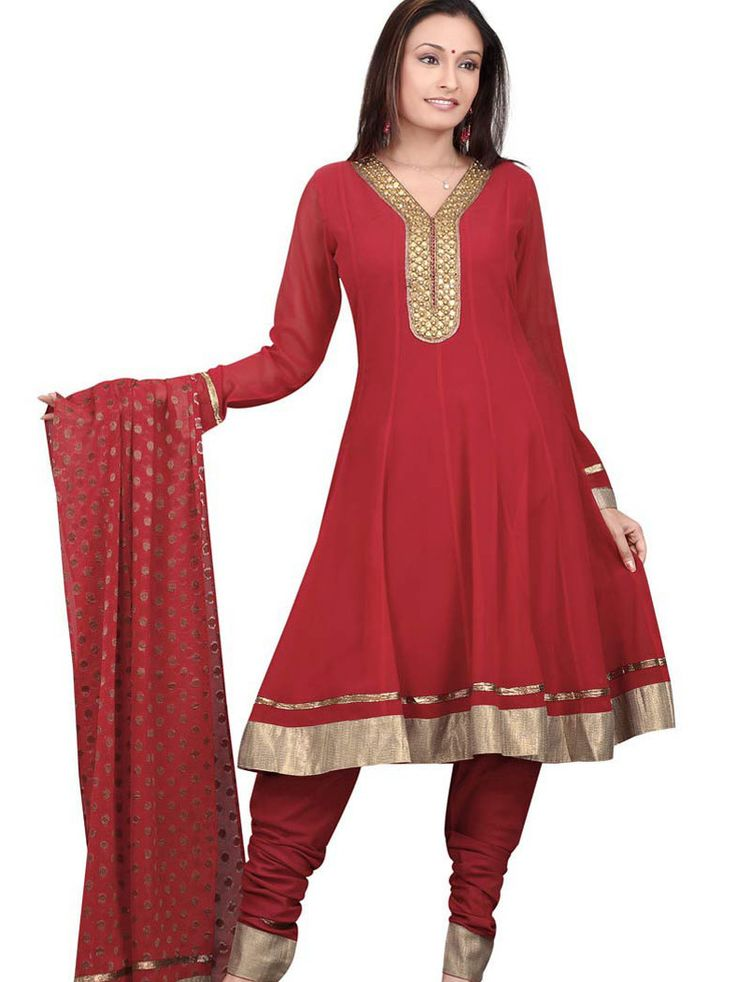 Maroon Faux Georgette Anarkali Churidar Kameez with Dupatta