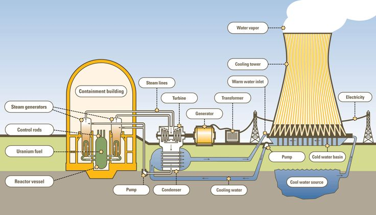 typical nuclear fission reactor This steam is used to turn a turbine which is connected to a generator that produces electricity. - Google Search