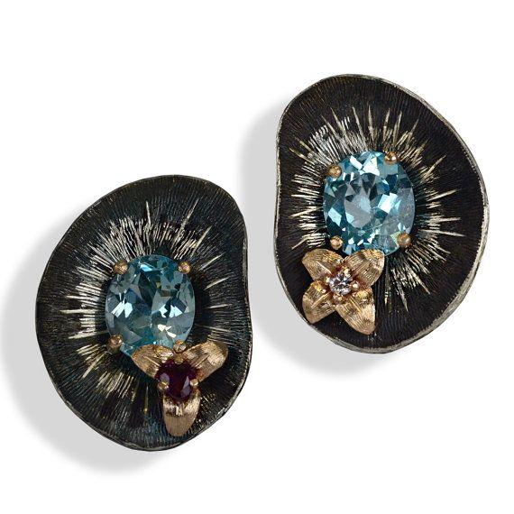 Ruby earrings, topaz earrings, earrings, gift for her, anniversary gift, birthday gift
