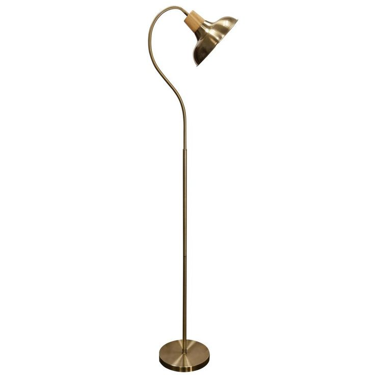 Gold Finish Gooseneck Floor Lamp, StyleCraft 645 in Gold Floor Lamp with Gold Steel Shade