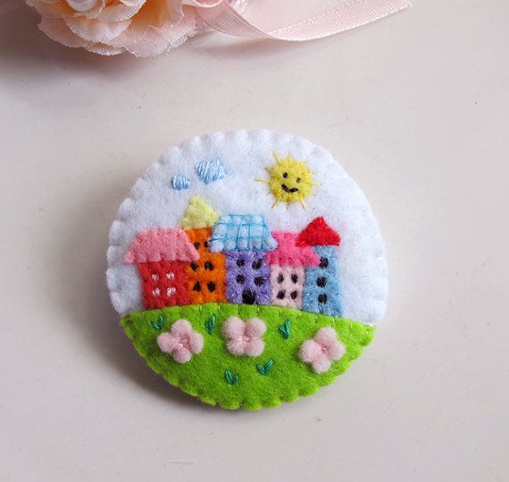 My Little Cute Colorful Neighbour Houses Brooch Pin. Gift for her. Spring Summer…