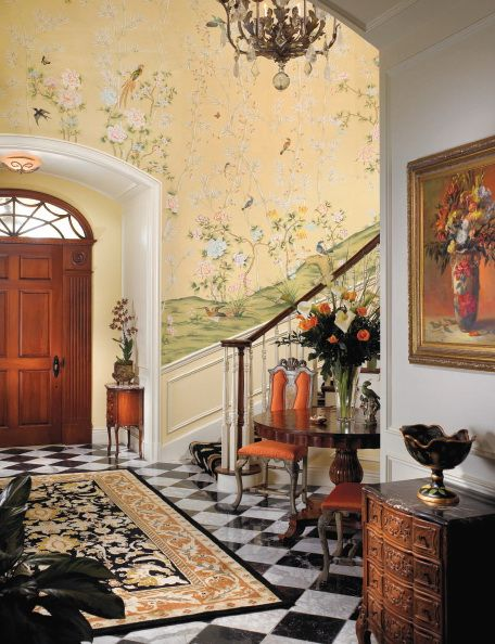 爱 Chinoiserie? Mais Qui! 爱 home decor in Chinese Chippendale style - chinoiserie entryway with hand painted wallpaper