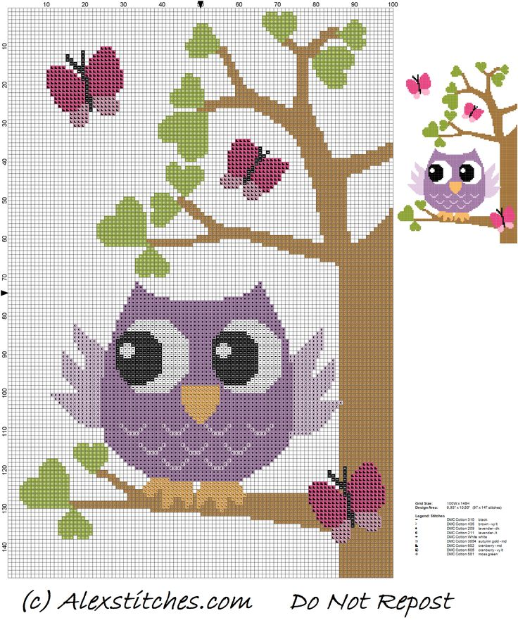 owl on tree with butterflies and hearts cross stitch pattern - free cross stitch patterns by Alex