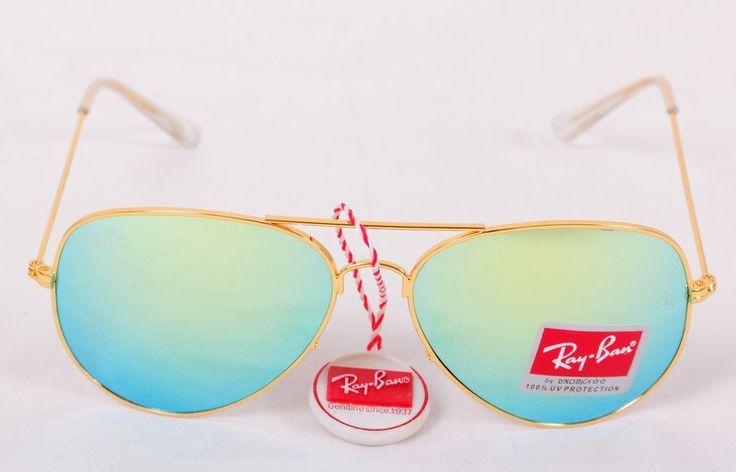 Солнечные очки Ray-Ban Aviator (Авиатор RB 3025) золотистая оправа, голубые с зеленым оттенком зеркальные поляризованные стекла хамелеон