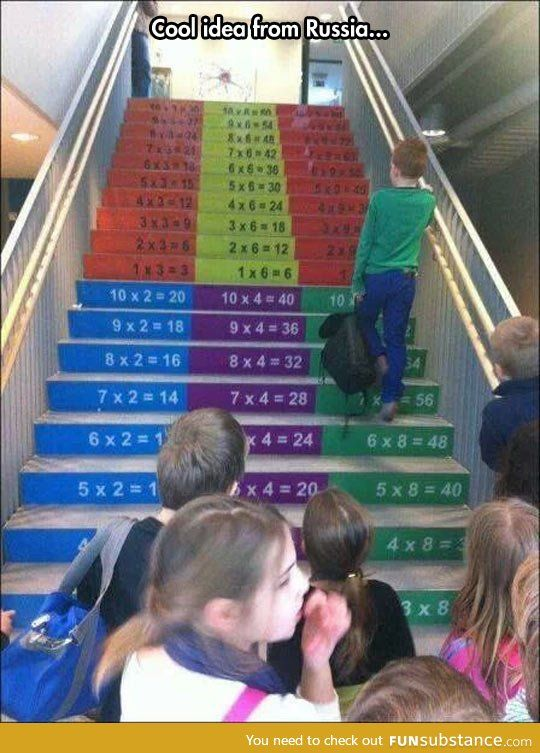 "Math stairs Teacher: ""What is 6x8?""   *hand isn't up* *teacher picks me*   Me: ""umm... Hold on.""   *run out to stairs* *checks answer* *runs back*   Me: ""48."""