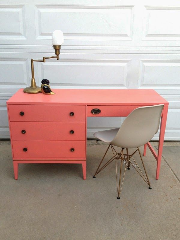 Oleander and Palm: Coral and Kelly Green Home Office - Furniture Fixes