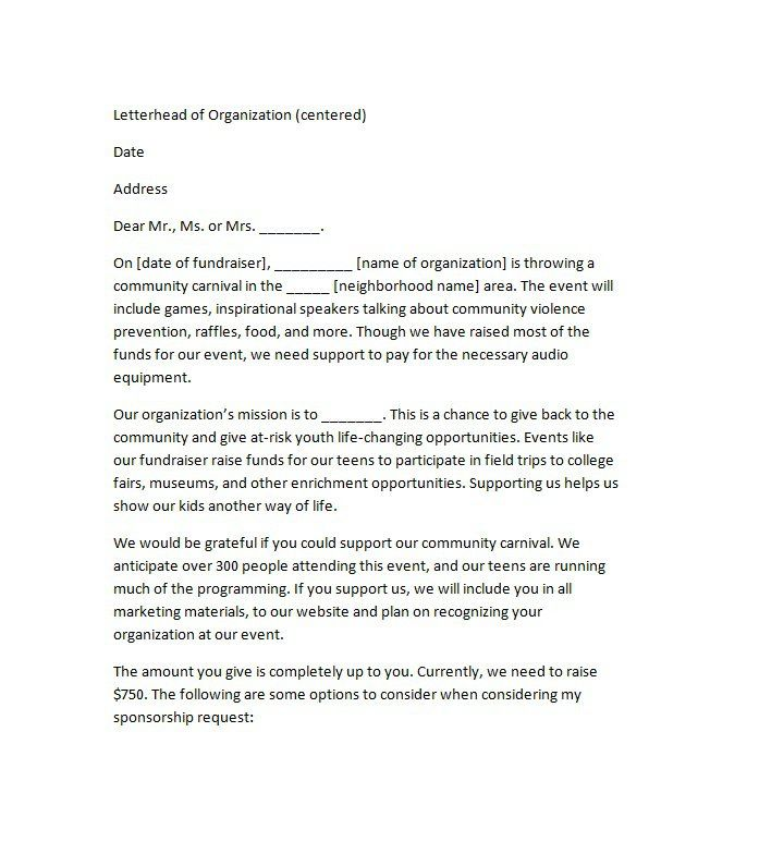 sponsorship letter template sponsorship letters write great
