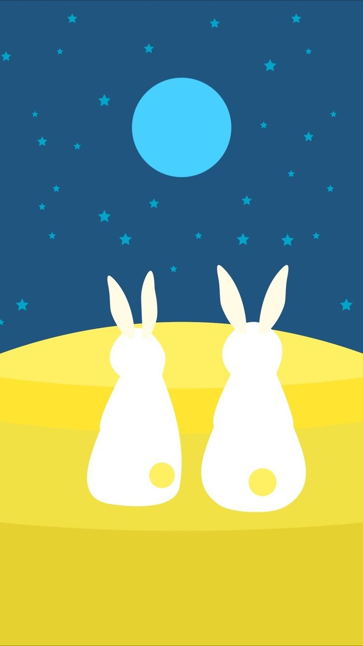 TAP AND GET FREE APP ⬆️ Cute bunnies and moon  wallpaper for iPhone 7 from Everpix app! Follow us and get Everpix free on the App Store!