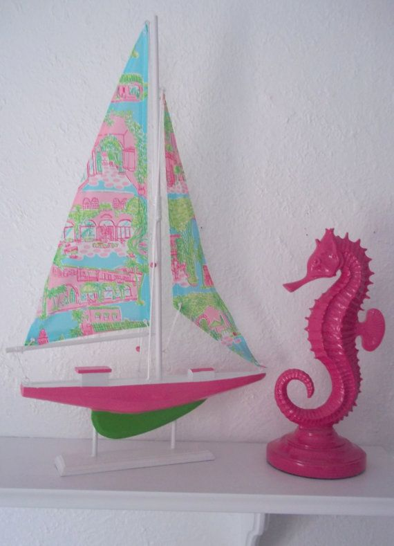 """22"""" Sailboat accented with Lilly Pulitzer Palm Beach Toile fabric.                   0"""