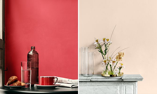 Matt wall paint is harmounious to look at because no reflexions disturbe the eye. These ones, Alcro Pink Nouveau and Apricot Nude, are also durable, which is not always the case with matt paints.