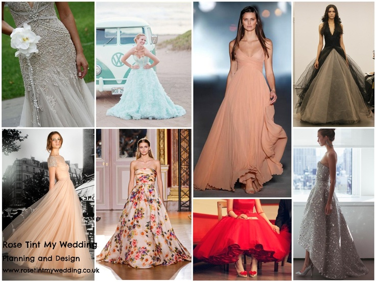 Coloured wedding dress inspiration. The celebs are doing it but what do you think? Would you dare to be different or stick with classic bridal white? www.rosetintmywedding.co.uk