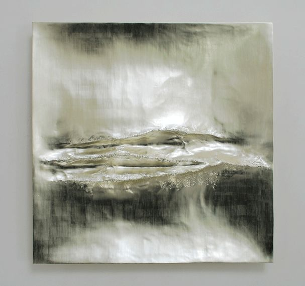 Beaux Arts Gallery - Luke Frost and Simon Allen   Simon Allen   Atlantic I   12 ct White Gold on Carved Wood   85cm Sq (33.5 inches)