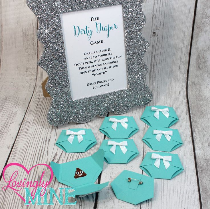 Tiffany Blue Dirty Diaper Game with Light Teal Diaper Pins and matching Silver Glitter Frame - Designer Inspired - Baby & Company Baby Shower Games by LovinglyMine on Etsy