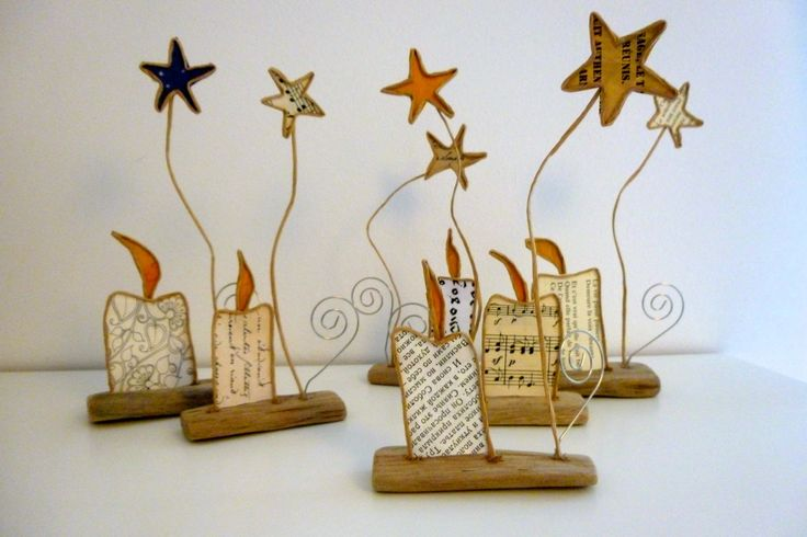 Lot de 6 petites bougies - sujets en ficelle et papier : Accessoires de maison par ficelleetpapier