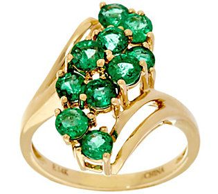 Zambian Emerald Elongated Waterfall Design Ring 14K, 1.50 cttw