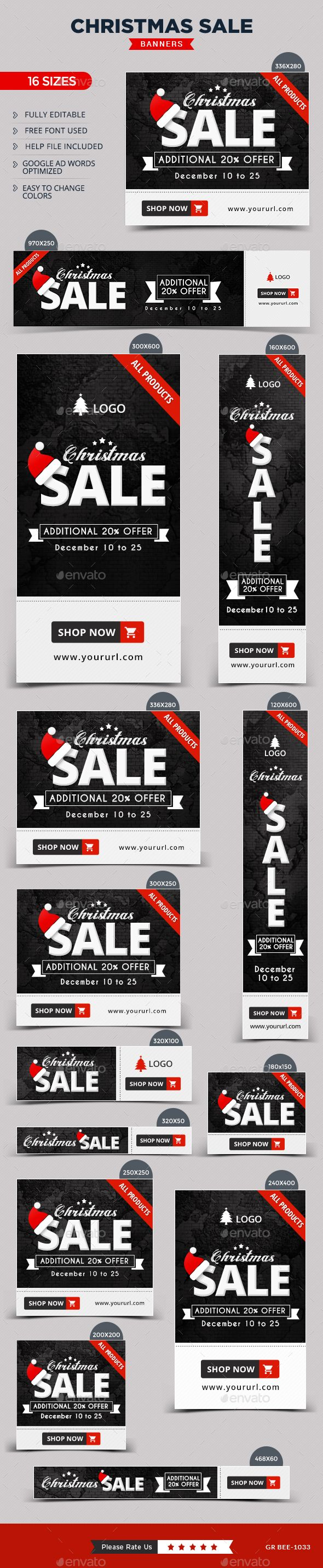 Christmas Web Banners Template PSD #design Download: http://graphicriver.net/item/christmas-banners/14018086?ref=ksioks