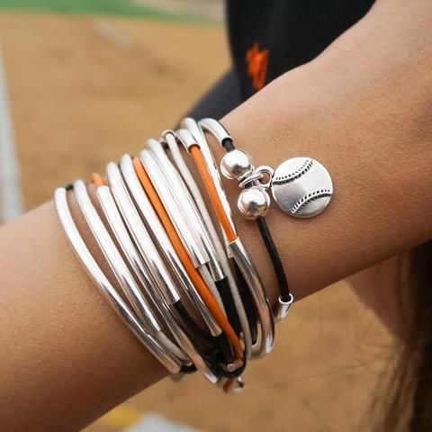 Lizzy Classic Silverplate 4 Strand Wrap Bracelet in Orange Black and Cream Leather with Baseball Charm (sold separately)