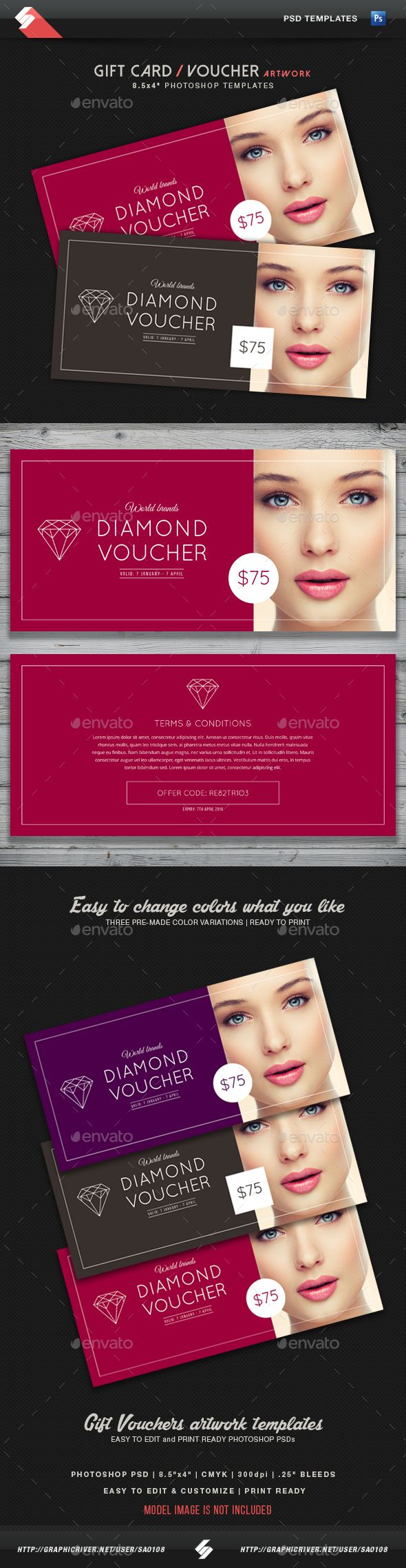 Diamond Voucher - Gift Card Template - Loyalty Cards Cards & Invites